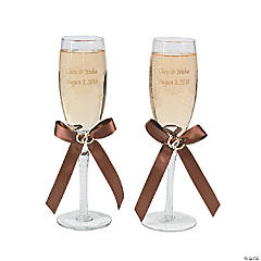 Personalized Rustic Western Wedding Champagne Flutes