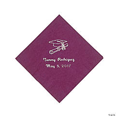 50 Personalized Silver Burgundy Graduation Beverage Napkins