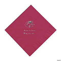 50 Personalized Silver Burgundy Wedding Beverage Napkins