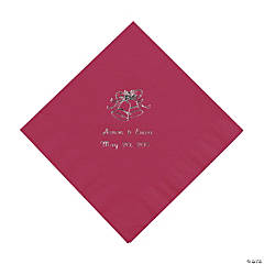 Personalized Silver Burgundy Wedding Luncheon Napkins