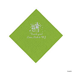 Personalized Silver Champagne Beverage Napkins - Lime Green