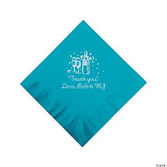 Personalized Silver Champagne Beverage Napkins - Turquoise