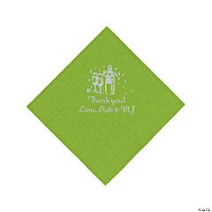 Personalized Silver Champagne Luncheon Napkins - Lime Green