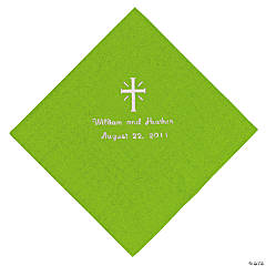 Personalized Silver Cross Beverage Napkins - Lime Green