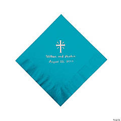 Personalized Silver Cross Beverage Napkins - Turquoise