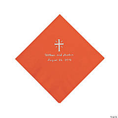 Personalized Silver Cross Luncheon Napkins - Orange