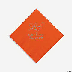 "Personalized Silver ""Love"" Beverage Napkins - Orange"