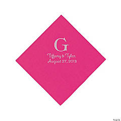 Personalized Silver Monogram Beverage Napkins - Hot Pink