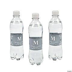 Personalized Silver Monogram Bottle Labels