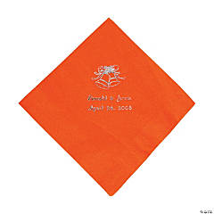 Personalized Silver Orange Wedding Luncheon Napkin