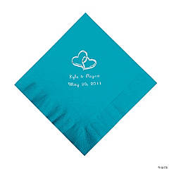 Personalized Silver Two Hearts Beverage Napkins - Turquoise