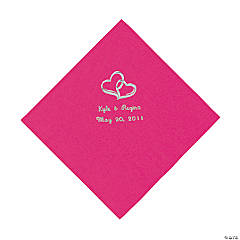 Personalized Silver Two Hearts Luncheon Napkins - Hot Pink