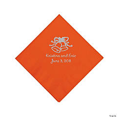Personalized Silver Wedding Bell Beverage Napkins - Orange