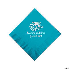 Personalized Silver Wedding Bell Beverage Napkins - Turquoise