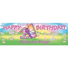 Personalized Small 1st Birthday Butterfly Vinyl Banner