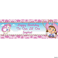 Personalized Small 1st Birthday Cowgirl Vinyl Banner