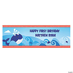 Personalized Small 1st Birthday Nautical Vinyl Banner