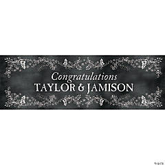 Personalized Small Chalkboard Floral Wedding Vinyl Banner
