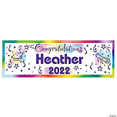 "Personalized Small ""Congratulations"" Graduation Vinyl Banner"