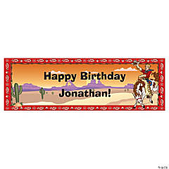 Personalized Small Cowboy Birthday Vinyl Banner