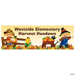 Personalized Small Harvest Hoedown Vinyl Banner