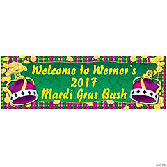 Personalized Small Mardi Gras Coins & Crown Vinyl Banner