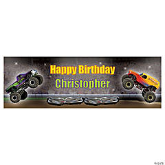 Personalized Small Monster Trucks Vinyl Banner