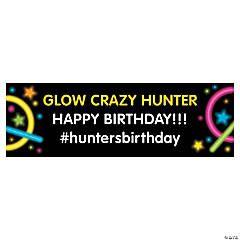 Personalized Small Neon Glow Party Vinyl Banner