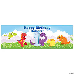 Personalized 1st Dinosaur Birthday Banner - Medium