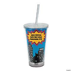 Personalized Superhero Tumbler with Lid & Straw