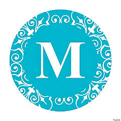 Personalized Turquoise Monogram Wedding Favor Stickers
