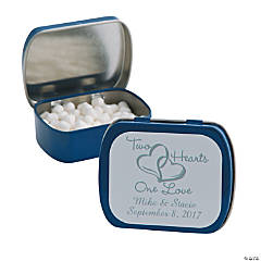 Personalized Two Hearts Blue Mint Tins