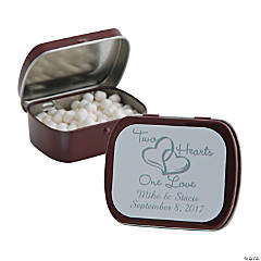 Personalized Two Hearts Burgundy Mint Tins
