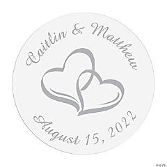 Personalized Two Hearts Favor Stickers
