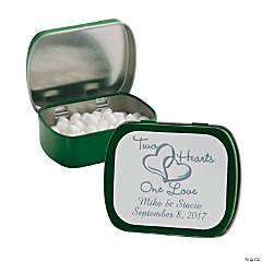 Personalized Two Hearts Green Mint Tins