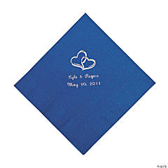 Personalized Two Hearts Luncheon Napkins - Blue