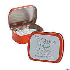 Personalized Two Hearts Orange Mint Tins