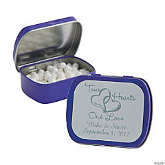 Personalized Two Hearts Purple Mint Tins