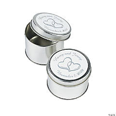 Personalized Two Hearts Silvertone Tins Favor Containers