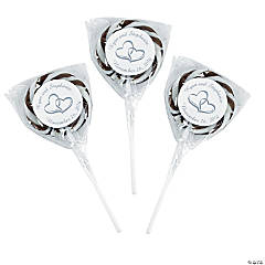 Personalized Two Hearts Swirl Pops - Black & White
