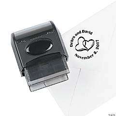 Personalized Two Hearts Wedding Self-Inking Stamper