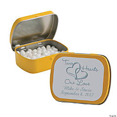 Personalized Two Hearts Yellow Mint Tins
