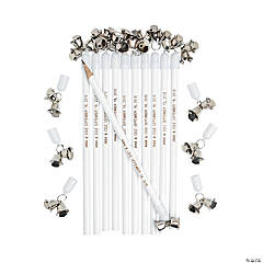 Personalized Wedding Bell Pencils - Silver