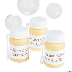 Personalized Wedding Ivory Mini Bubble Bottles