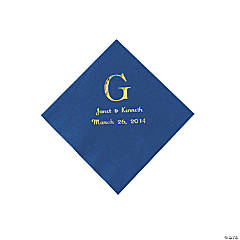 Personalized Wedding Monogram Beverage Napkins - Blue