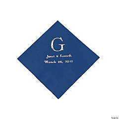Personalized Wedding Monogram Beverage Napkins - Navy