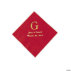 Personalized Wedding Monogram Beverage Napkins - Red