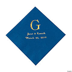 Personalized Wedding Monogram Luncheon Napkins - Blue
