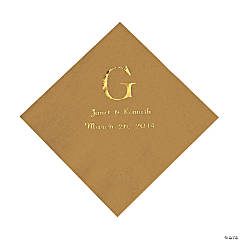 Personalized Wedding Monogram Luncheon Napkins - Gold