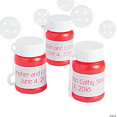 Personalized Wedding Red Mini Bubble Bottles